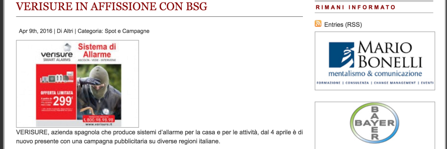 VERISURE IN AFFISSIONE CON BSG