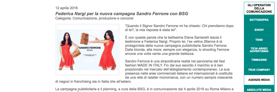 Federica Nargi per la nuova campagna Sandro Ferrone con BSG