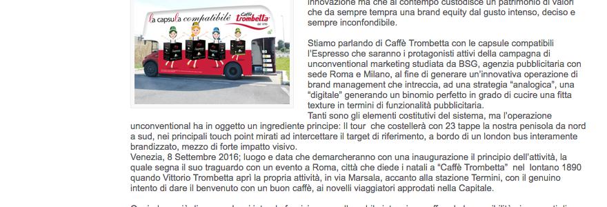 L'Espresso di Caffè Trombetta conferma la fiducia a BSG