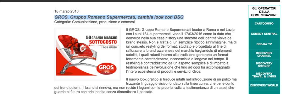GROS, Gruppo Romano Supermercati, cambia look con BSG